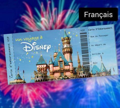 Carte D Embarquement Personnalisee Un Voyage A Disney Etsy Disney Tickets Unique Travel Gifts Disneyland