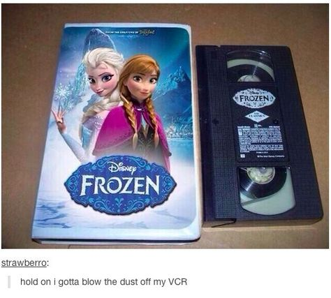 """Saaayy waaaah? Apparently Disney still makes money from selling VHS copies in 2014. It's a brave old world.   This Is The Most Baffling """"Frozen"""" Photo"""