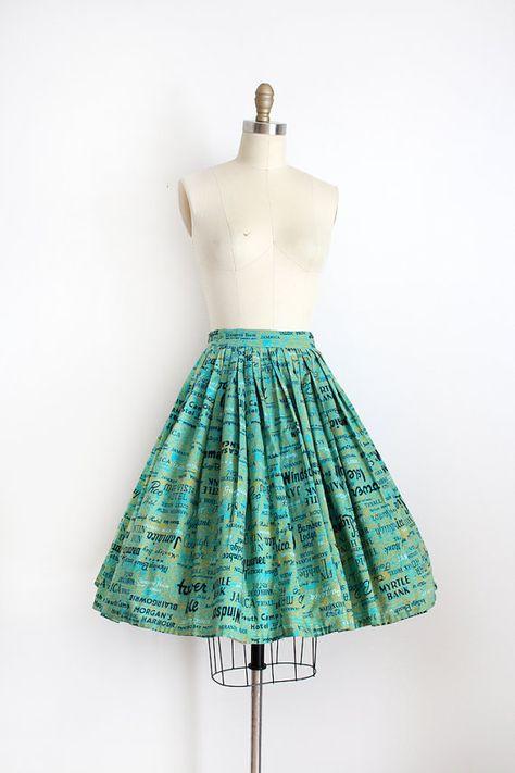 RARE vintage 1950s skirt // 50s novelty Jamaican Tourist cotton circle skirt