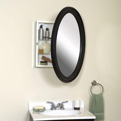 Zenna Home Oval Medicine Cabinet Bathroom Mirror Mirror Cabinets
