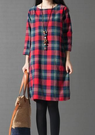#Valentines #AdoreWe #Fairy Season - #Plaid Plaid Casual Dress Without Necklace - AdoreWe.com