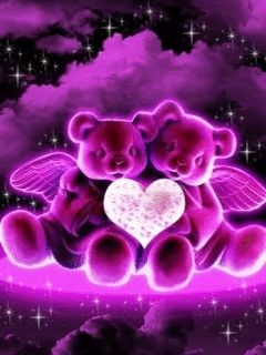Two hearts beat as one love friendship animated friend gif teddy bears