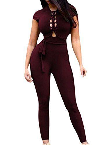 omniscient Womens V Neck Rompers Backless Spaghetti Strap Jumpsuit