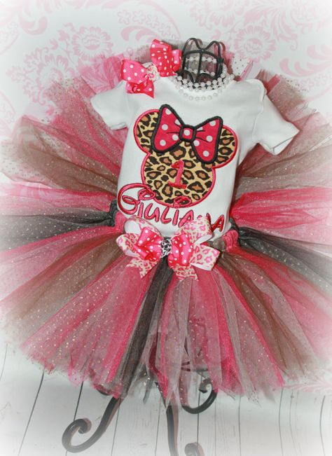 55e1072fbb6d Girls First Birthday Leopard Tutu Outfit MINNIE by 4AngelBabies ...