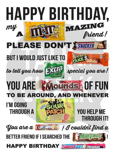 Happy Birthday PRINTABLE Candy Poster   Funny Birthday Gift for a Friend   PRINTABLE Birthday Candy Gram Sign   DIY Printing