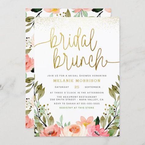 $2.25   Gold Blush Pink Floral Bridal Brunch Bridal Shower #bridalshower #bridalbrunch #gold #blushpink #floral #springsummer #bohofloral #watercolorflowers #elegant #modern
