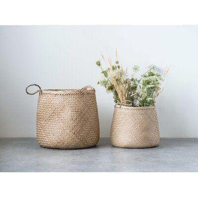 Allmodern 2 Piece Seagrass Basket Set Wicker Seagrass In Brown Size 18 H X 18 W X 18 D Wayfair Organization In 2021 Seagrass Basket Boho Basket Wicker