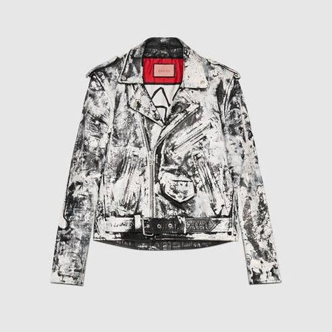 GUCCI Guccighost Biker Jacket. #gucci #cloth #men's bombers & leather jackets Fashion leather articles at 60 % wholesale discount prices #leather #leatherjacket #leatherfashion