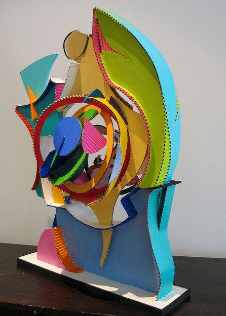 corrugated cardboard sculpture inspired by frank stella