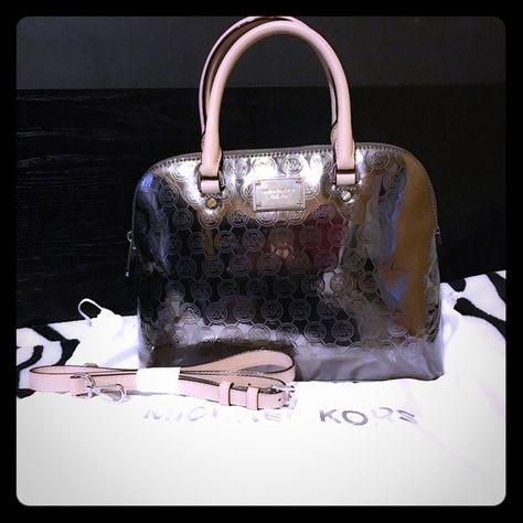 5c25aae10766c3 Michael Kors Bag Large Dome Signature Leather Satchel color Nickel// NO  TRADING Michael Kors Bags Crossbody Bags