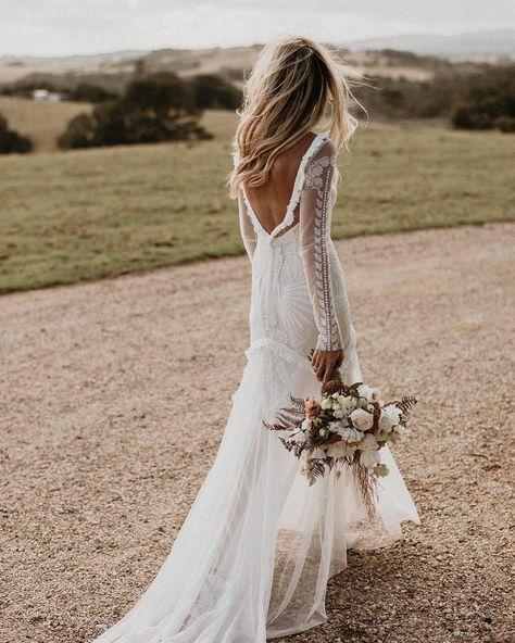 Boho Wedding Dresses Of Your Dream ★ boho wedding dresses sheath v back with long sleeves lace rue de sheine