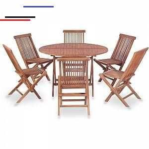 Vidaxl 7 Piece Outdoor Dining Set Solid Teak Wood Salled 39 Eau Em 2020