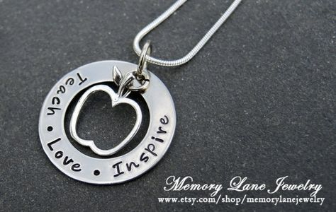 END OF SCHOOL YEAR GIFT FOR TEACHER!  Teach Love Inspire  Washer Style by MemoryLaneJewelry on Etsy, $35.00