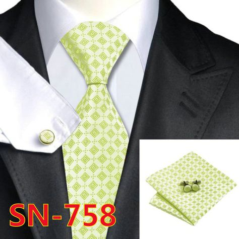 Apparel Accessories Sn-1162 Green Floral Tie Hanky Cufflinks Sets Mens 100% Silk Ties For Men Formal Wedding Party Gentlemen Necktie Ties Set