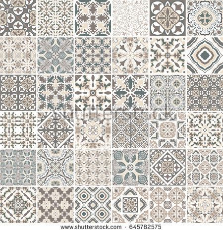 Traditional Ornate Portuguese Decorative Tiles Azulejos Abstract