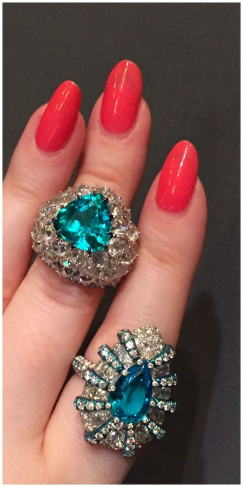 Two gorgeous Paraiba tourmaline and diamond rings from Arunashi.
