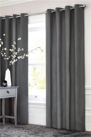 Luxury Herringbone Tweed Silver Grey Curtains   Lined Modern Eyelet Curtains  | Modern Eyelet Curtains, Silver Grey Curtains And Grey Curtains
