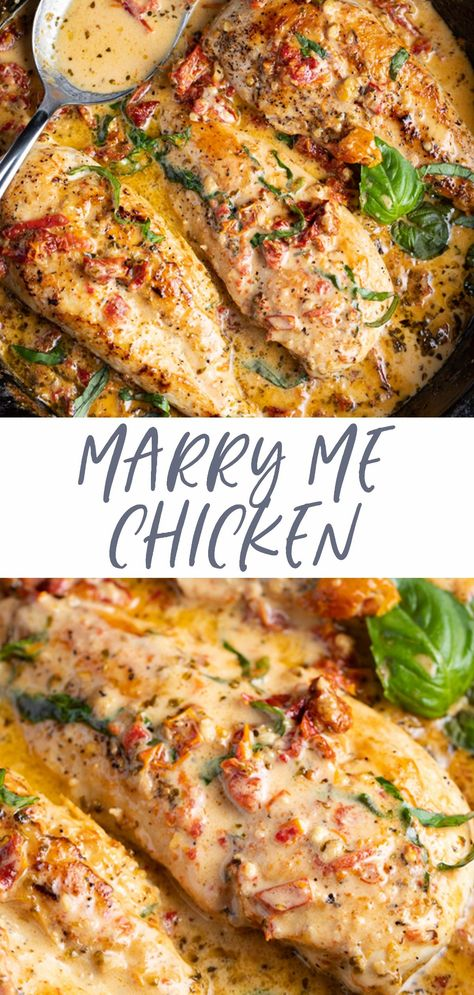 Marry me chicken is about to become your new favorite chicken recipe! This crowd-pleaser combines juicy, tender chicken breasts and an incredible parmesan cream sauce with sun dried tomatoes and fresh basil for a rich, flavorful main course everyone will love.