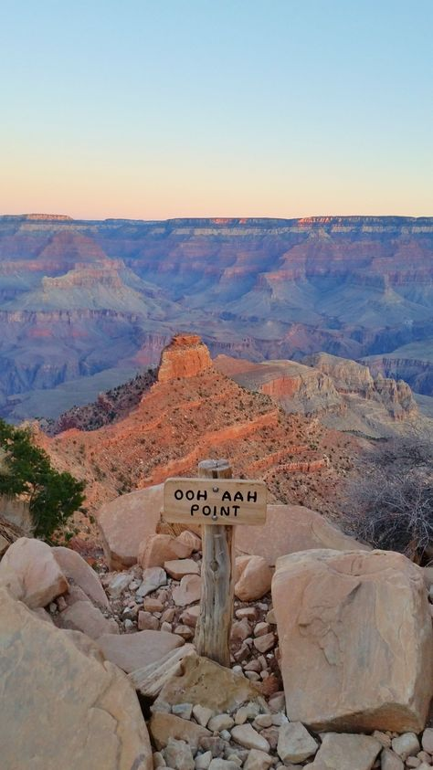 Grand Canyon sunrise hike to Ooh Aah Point national park picture - - PHOTOS of what types of Grand Canyon scenic views you'll get with a hike into the inner canyon to ooh aah point PLUS further hiking options. Grand Canyon Sunrise, Grand Canyon Hiking, Grand Canyon Arizona, Grand Canyon Park, Las Vegas Grand Canyon, Grand Canyon Vacation, Grand Canyon South Rim, Bryce Canyon, Arizona Road Trip