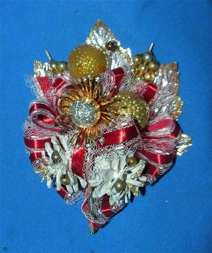 Vtg 1950's Xmas Corsage w Mercury Glass Foil Balls Pinecones Crafts Packages | eBay