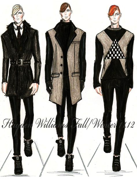 "haydenwilliamsillustrations: "" Hayden Williams Fall/Winter 11.12 Mens collection. "" I'd totally wear the outfit on the left"