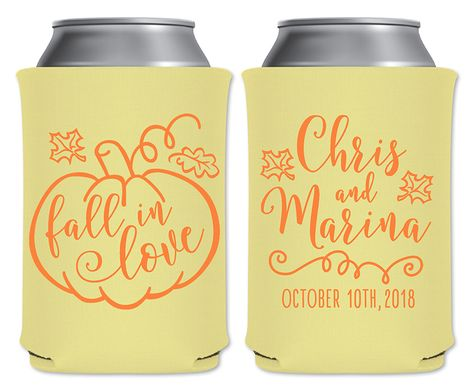 Personalized wedding can coolers rustic wedding favors. Perfect touch for your barn wedding! Unique boho wedding decor. #fallinlove #fallweddingfavors #fallweddingdecor #fallweddingideas #pumpkinwedding #pumpkinthemed #pumpkininspired