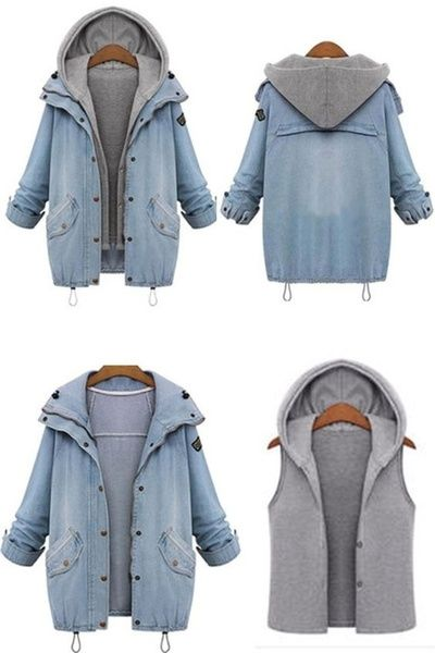 172b5b7e9358 Spring Autumn Women Two Piece Hooded Jeans Jacket Suit Plus Size ...