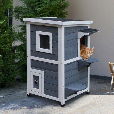 Tucker Murphy Pet Maja Solid Wood 2 Floor Cat House With Windows Outdoor Cat House Cat House Diy Cat Houses Indoor