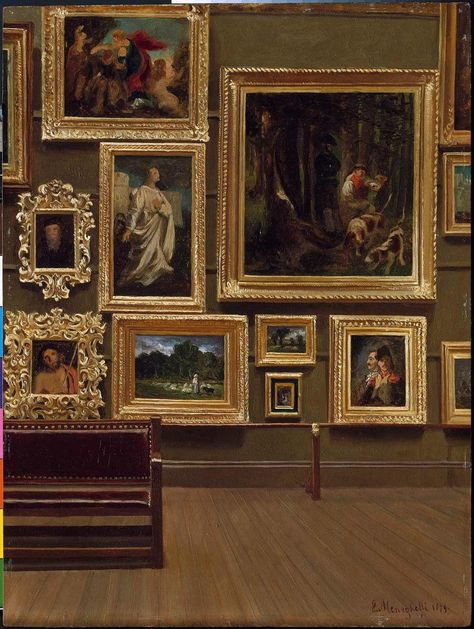 The Picture Gallery in the Old Museum Enrico Meneghelli (American, born in Italy, Oil on paperboard. Features a salon-style installation in the second-floor. Museum Art Gallery, Art Museum, Gallery Wall, History Museum, Museum Poster, Museum Quotes, Art Et Architecture, Museum Plan, Kunsthistorisches Museum