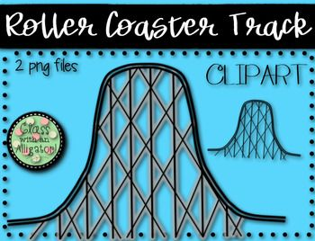 This Roller Coaster Track Clip Art Set Includes 2 Png Files 1 Colored Roller Coaster Track Png 1 Black And White Roller Coaster Clip Art Roller Coaster Art