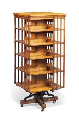 An Edwardian Oak Revolving Boo Revolving Bookcase Bookcase