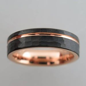 8mm Rounded Hammered Black Tungsten Carbide Unisex Band With Rose Gold Stripe Interior Hammered Finish Mens Tungsten Wedding In 2021 Rose Gold Mens Wedding Band Hammered Wedding Bands Mens Wedding