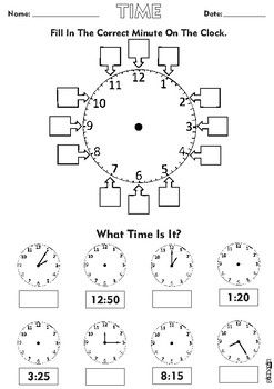 5 Minute Analogue Clock Time Math Word Walls Clock Worksheets