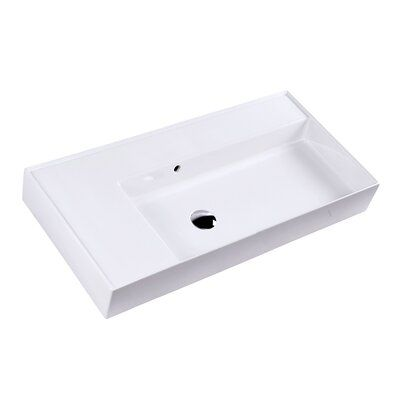 Lacava Aquaotto Rectangular Wall Mount Bathroom Sink With Overflow