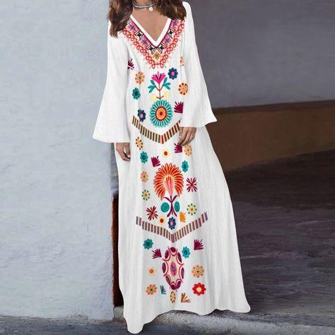 Indian Caftan Kaftan Maxi Vestido Túnica niña hecho a Mano Floral Hippie Bohemio