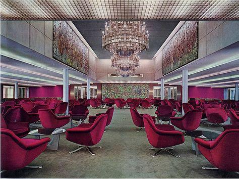 Italian Liner Michelangelo-Ballroom  First class ballroom, mid 1960s                                                                               More