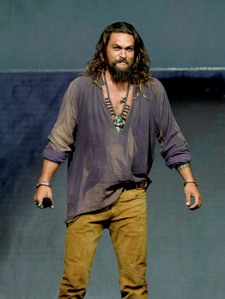 Jason Momoa speaks onstage at the Warner Bros. theatrical panel during Comic-Con International 2018 at San Diego Convention Center on July 21, 2018 in San Diego, California.