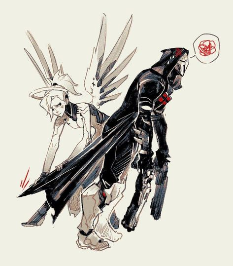 Mercy rescuing Reaper who was caught by the cloak on the escalator, art version. | Overwatch