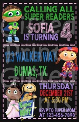 birthday invitation super why theme