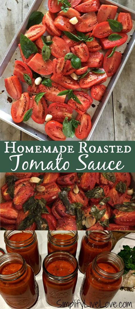 This easy homemade roasted tomato sauce is a perfect recipe. It's a great wa… This easy homemade roasted tomato sauce is a perfect recipe. It's a great way to use up extra tomatoes you may have and is delicious on pasta and in soups! Roasted Tomato Sauce, Tomato Sauce Canning, Tomato Sauce Recipes, Homemade Tomato Sauce Easy, Fresh Tomato Pasta Sauce, Tomato Canning Recipes, Fresh Tomato Recipes, Roasting Tomatoes For Sauce, Canned Roasted Tomatoes Recipe