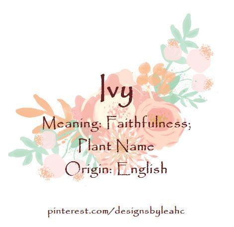 Baby Girl Name: Ivy  Meaning: Faithfulness