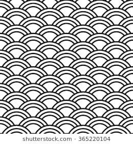 Japanese pattern, vector illustration  Black and white wave