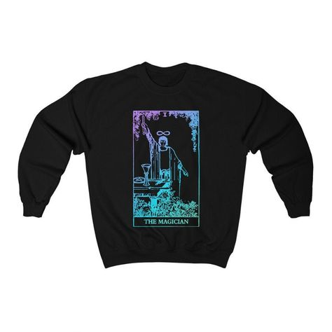 This witchy sweatshirt features The Magician Tarot card from the original Rider Waite deck.  #tarotshop #witchyshop #witchyetsyshop #tarotcards #tarotdecks #themagiciantarot #themagiciantarotcard #themoontarot #tarotsweatshirt #tarotsweater #tarotshirt #witchydecor #witchyaesthetic #witchyfashion #modernwitch #witchysweater #witchysweatshirt #astrology #mercury #alchemy #esoteric #occult #pagan #wiccan #gothaesthetic #pastelgoth #lightworker #tarot #zodiac #thehighpriestess #cosmic #witchyart