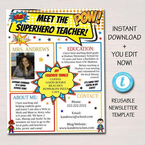 Meet The Teacher Superhero Theme Classroom Newsletter Flyer, Printable Handout, Back to School Parent Communication Letter EDITABLE Template