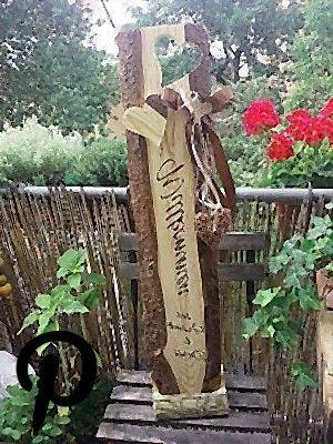 Holz Aufsteller Willkommen Schild Holzbalken Familienschild Wunschbeschriftung Holzbalken Aufsteller Beschriftung