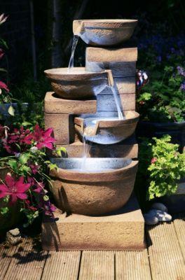 86cm Kaskadenbrunnen Kendal Mit Led Beleuchtung Ambiente 224 99 Modernes Wasser Feature Gartendesign Ideen Brunnen Garten
