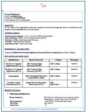 Mca Fresher Resume Sample Resume Format Career Objectives For