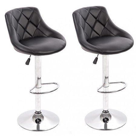Bar Stools Barstools Swivel Stool Set Of 2 Height Adjustable Bar Chairs With Back Pu Leather Swivel Bar Stool Kitchen Counter Stools Dining Chairs Walmart Com In 2020 Comfortable Bar Stools