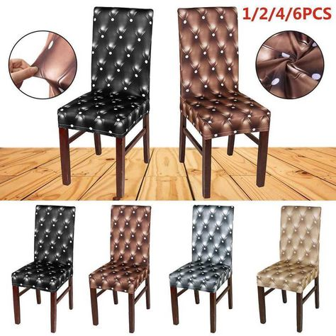 Details About 1 2 4 6 Pcs Dining Room Chair Covers Wedding Banquet