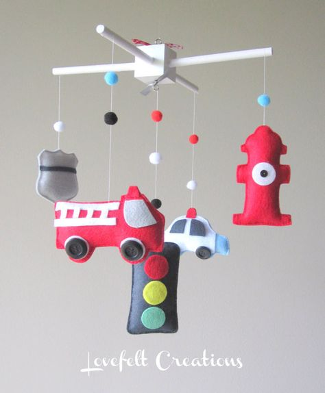 Baby Crib Mobile Fire Truck By Lovefeltxoxo On Etsy